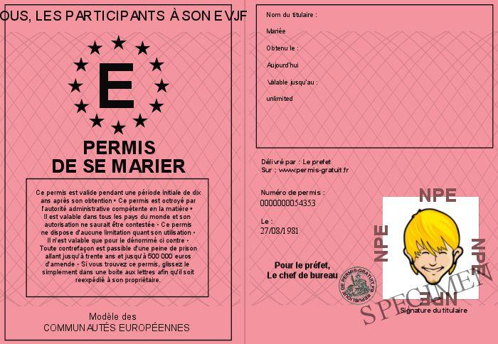 Délivrer un permis de se marier à la future mariée lors de son EVJF